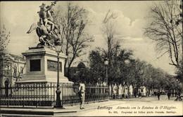 CPA Santiago De Chile, Alameda Con La Estatua De O'Higgins - Chile