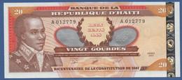 HAITI - P.271Aa – 20 Gourdes2001 UNC Serie A 012779 - Haiti