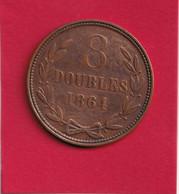 Guernesey - 8 Doubles 1864 - Monnaie Nettoyée - Guernsey