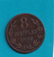 Guernesey - 8 Doubles 1889 - H - Heaton ( Birmingham ) - Guernsey