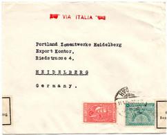 Lettre Via Italia De Djeddah (Oct. 1939) Pour Heidelberg Censure Zollamtlich Geöffnet - Saudi Arabia