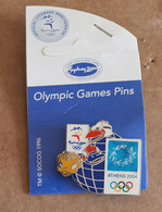 2000 Sydney - 2004 Athens Olympic Games, Bridge Pin With Sydney Mascots On Earth With Original Backing Card - Jeux Olympiques