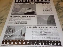 ANCIENNE PUBLICITE  CROISIERE EN MEDITERRANEE  1932 - Boats