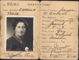 Carte D'identité Gouvernement De Palestine Cachet District Jérusalem PCD/GWSD Tampon 9 1 1945 Juive Israël - Palestina