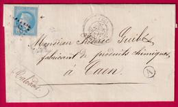 N°29 GC 3219 ROUEN SEINE INFERIEURE BOITE RURALE A LA MIVOIE POUR CAEN CALVADOS - 1849-1876: Période Classique