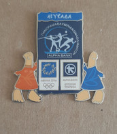Athens 2004 Olympics - Alpha Bank Greek Sponsor, 2003 Panorama Olympic Games Series, Lefkada Island Pin With Mascots - Jeux Olympiques