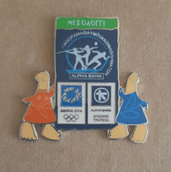 Athens 2004 Olympics - Alpha Bank Greek Sponsor, 2003 Panorama Olympic Games Series, Mesolongi City Pin With Mascots - Jeux Olympiques