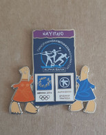 Athens 2004 Olympics - Alpha Bank Greek Sponsor, 2003 Panorama Olympic Games Series, Nafplio City Pin With Mascots - Jeux Olympiques