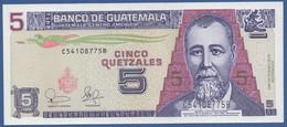 GUATEMALA - P.106a – 5 Quetzal  12.02.2003 UNC Serie C54108775B Printer FCO - Guatemala