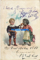 170232 ART ARTE THE BOY GIVING THE GIRL BLACK TO EAT AN APPLE AND DOLL TOY CIRCULATED TO ARGENTINA POSTAL POSTCARD - Unclassified