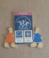 Athens 2004 Olympics - Alpha Bank Greek Sponsor, 2003 Panorama Olympic Games Series, Grevena City Pin With Mascots - Jeux Olympiques