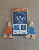 Athens 2004 Olympics - Alpha Bank Greek Sponsor, 2003 Panorama Olympic Games Series, Sparti City Pin With Mascots - Jeux Olympiques