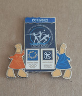 Athens 2004 Olympics - Alpha Bank Greek Sponsor, 2003 Panorama Olympic Games Series, Corinth City Pin With Mascots - Jeux Olympiques