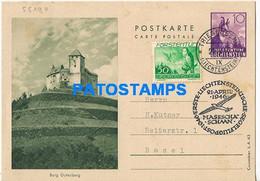 170239 LIECHTENSTEIN SCHAAN BURG GUTENBERG CIRCULATED TO SWITZERLAND POSTAL STATIONERY C / POSTAGE ADDITIONAL POSTCARD - Postwaardestukken