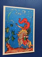Illustrator Kurkin - Writer Pushkin  -To The Moon - Old Russian Postcard - 1968 - Cuentos, Fabulas Y Leyendas