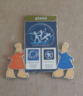 Athens 2004 Olympics - Alpha Bank Greek Sponsor, 2003 Panorama Olympic Games Series, Drama City Pin With Mascots - Jeux Olympiques