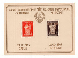 1945 YUGOSLAVIA, AVNOJ 29.11.1943. JAJCE 1945 BEOGRAD,BLOCK,MNH - Blocchi & Foglietti