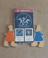 Athens 2004 Olympics - Alpha Bank Greek Sponsor,2003 Panorama Olympic Games Series, Agios Nikolaos City Pin With Mascots - Jeux Olympiques