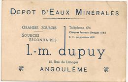 Ref TMB Carte De Visite Depot D'eaux Minérales L.M DUPUY Angouleme - Visitekaartjes