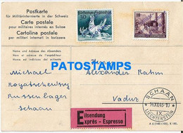 170260 LIECHTENSTEIN SCHAAN REGISTERED CIRCULATED TO VADUZ POSTAL POSTCARD - Liechtenstein