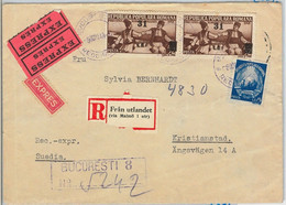 46524  -  ROMANIA -  POSTAL HISTORY : REGISTERED EXPRESS COVER To SWEDEN 1949 - Cartas