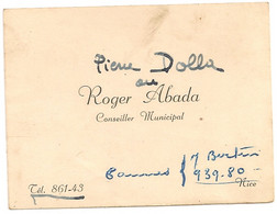 Ref AlbMar : Carte De Visite Nice Conseiller Municipal Roger Abada - Visitekaartjes