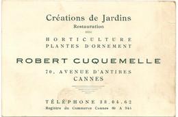 Ref AlbMar : Carte De Visite Cannes Robert Cuquemelle Horticulture Rue D'antibes - Visitekaartjes