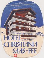 Ref AlbMar : Image Ancienne étiquette Hotel Tourisme Année 50 60 Suisse Hotel Christinia Saas Fee - Etiquetas De Hotel
