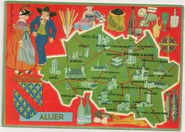 Ref 567 : CPSM 03 ALLIER  Contour De Département Carte Géographique Françoise Dague - Mapas