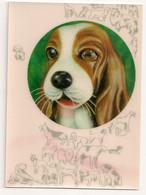 Ref 568 : CPSM Carte Relief 3D Visiomatic Chien Cligne De L'oeil Winking Dog - Mechanical