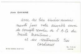 JEAN DAVAINE 32 BOULEVARD GABRIEL GUIST'HAU NANTES - Visitekaartjes