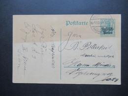 Feldpost 1.WK 24.7.1918 Ganzsache Rußisch - Polen Als FP Karte Stempel Kais. Deutsche Feldpost Nr.112 - Covers & Documents