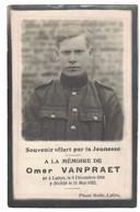 SOUVENIR OFFERT PAR LA JEUNESSE OMER VANPRAET NE A LUTTRE 1900 DECEDE 1922 APRES  UNE COURTE ET PENIBLE MALADIE - Décès