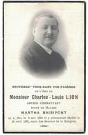 MONSIEUR CHARLES-LOUIS LION ANCIEN COMBATTANT EPOUX DE MADAME MARTHA BAISIPONT NE A HAL 1891 DECEDE 1935 - Décès