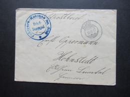 Feldpost 1.WK 10.10.1917 Blauer Briefstempel Fuhrpark Kolonne Nr. 898 Nach Hohnstedt Gesendet - Covers & Documents