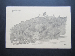Feldpost 1.WK 1918 Künstler AK Montmedy Zeichnung Gefreiter Bon Stempel Feldrekr. Der 18. Res. Div Deutsche Feldpost 249 - Covers & Documents