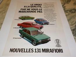 ANCIENNE PUBLICITE VOITURE 131 MIRAFIORI  DE FIAT 1978 - Cars
