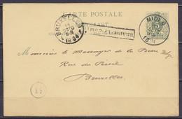 """EP CP 5c Gris-vert Càd Ambulant """"MIDI 6 /11 OCTO 1894"""" Pour BRUXELLES - Griffe [BRAINE-LE-COMTE] Càd Arrivée BRUXELLES 1 - Postcards [1871-09]"""