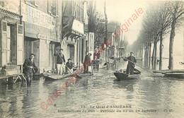 Le Quai D'ASNIERES . Inondations De 1910 . Période Du 22 Au 26 Janvier . - Asnieres Sur Seine