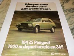 ANCIENNE PUBLICITE LA 104 ZS DE PEUGEOT  1978 - Cars