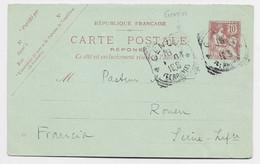 FRANCE ENTIER MOUCHON 10C RETOUCHE CARTE REPONSE  OBLITERATION ITALIENNE GENOVA FERROVIA - 1900-02 Mouchon