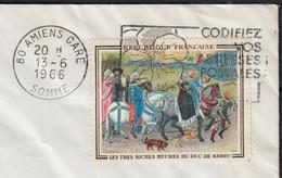 Tableau DUC De BERRY  1.00f  Y.T.1457  SEUL Sur Enveloppe De 80 AMIENS Gare  Le 13 6 1966  Pour 80 AIRAINES - 1961-....