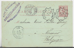 FRANCE ENTIER MOUCHON RETOUCHE CP CONVOYEUR VILLERUPT A LONGWY 1903 POUR BELGIQUE - 1900-02 Mouchon