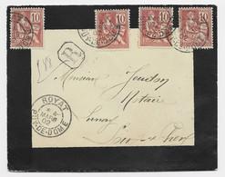FRANCE MOUCHON 10CX4 N°116 LETTRE DEUIL REC ROYAT 4 MARS 1902 PUY DE DOME - 1900-02 Mouchon