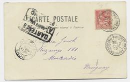 FRANCE MOUCHON 10C N°112 SEUL CARTE COLONNE RANDON STE ANNE 13 AVRIL 1902 BUREAU ALGERIE POUR URUGUAY - 1900-02 Mouchon
