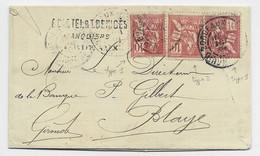 FRANCE MOUCHON 10C N°112 X3 LETTRE BORDEAUX 1901 TARIF 3EME - 1900-02 Mouchon