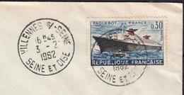 Paquebot FRANCE 30c  Y.T.1325  SEUL Sur Enveloppe De 78 VILLENNES Sur SEINE Le 3 2 1962  Pour 62 BOULOGNE Sur MER - 1961-....