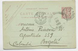 FRANCE ENTIER MOUCHON 10C CP MENTON 11.6.1902 ALPES MARITIMES POUR BOGOTO COLOMBIE - 1900-02 Mouchon