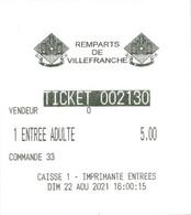 Ticket D'entrée -  Remparts De Villefranche [de Conflent] (66) - Tickets - Vouchers