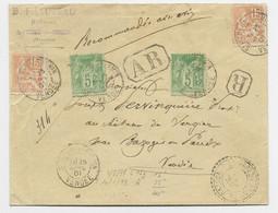 FRANCE MOUCHON 15C ORANGEX2 MIXE SAGE 5CX2 LETTRE REC AR ST PIERRE VENDEE POUR BAZOCHES - 1900-02 Mouchon